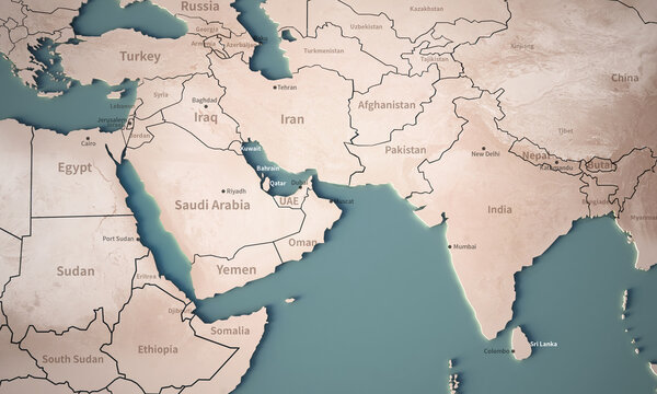 Middle East map illustration. map of the world with a country name.