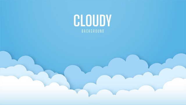 Bright sky background with cloudy. Beautiful and Simple Blue Sky Vector Design