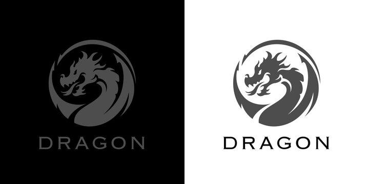 Dragon tattoo logo. Year of the dragon icon. Chinese zodiac symbol. Martial arts emblem. Mythological beast sign. Vector illustration.