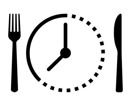 Intermittent food fasting with clock line art vector icon for food apps and websites