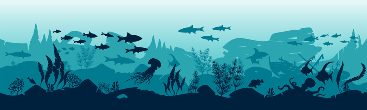 Silhouette of fish and algae on the background of reefs. Vector illustration. EPS10