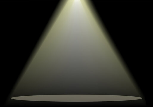 Illustration of a yellow spotlight on stage. Vector illustration.