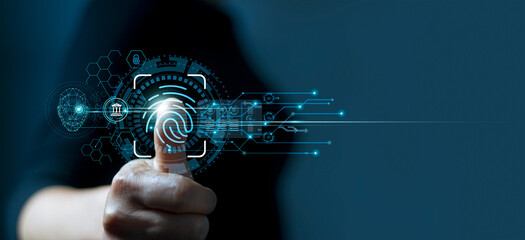 Businessman using fingerprint indentification to access personal financial data. Idea for E-kyc (electronic know your customer), biometrics security, innovation technology against digital cyber crime - fototapety na wymiar