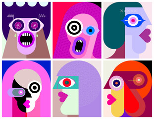 Six People Portraits modern art graphic illustration. Six flat design different faces.