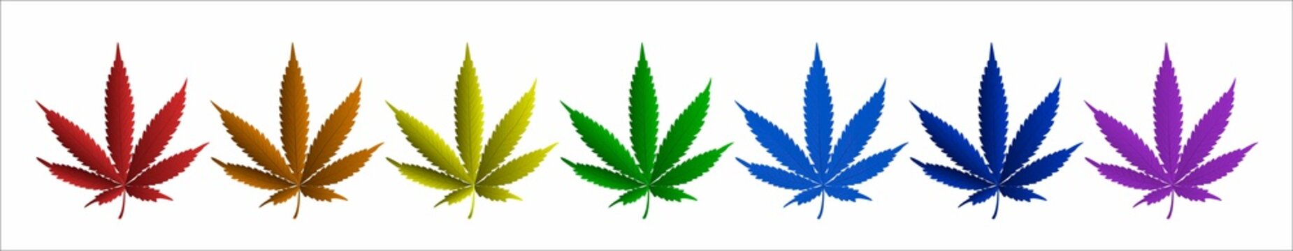 A set of marijuana sheets of all colors of the rainbow. LGBT concept. Vector.