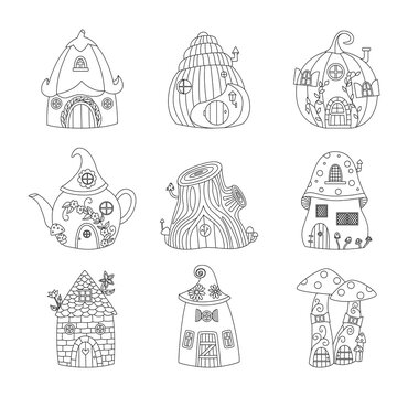 Black line image of gnome houses set of cartoon vector illustrations isolated.