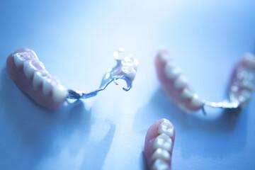 Fototapeta High Angle View Of Dentures On Table obraz