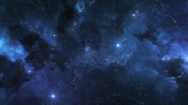 Blue Cosmos Background with Nebula Clouds and Stars. Galaxy Astronomy image showing a dramatic view of Outer Space. 3D render
