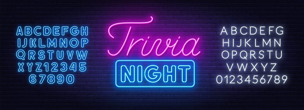 Trivia night neon sign on a brick wall. White and blue neon alphabets.