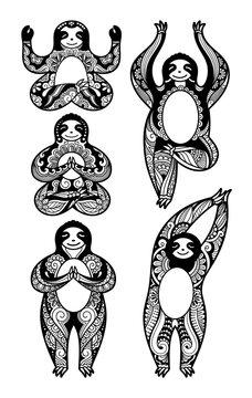 Set of sloths mandala zentangle stylized in different poses doing yoga
