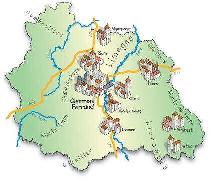63 Carte du département du Puy-de-Dôme