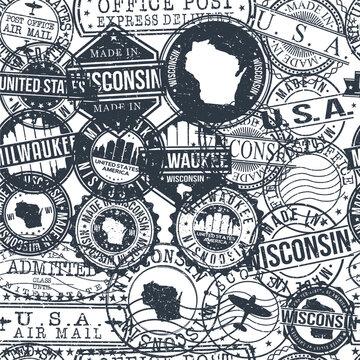 Milwaukee Wisconsin Stamps Background. City Stamp Vector Art. Postal Passport Travel. Design Set Pattern.