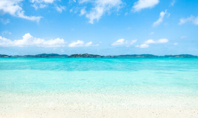Wall Mural - Beautiful beach with turquoise water and white sand, Okinawa, Japan