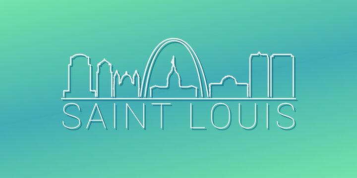 St. Louis, MO, USA Skyline Linear Design. Flat City Illustration Minimal Clip Art. Background Gradient Travel Vector Icon.
