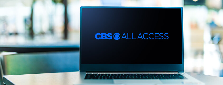 Laptop computer displaying logo of CBS All Access