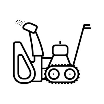 Simple vector icon on the theme of snow removal. An icon of a gasoline snowplow is presented. Cleaning of paths sidewalks paths from snow