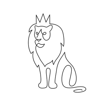 Crowned lion in continuous line art drawing style. Lion as a symbolic king of beasts minimalist black linear design isolated on white background. Vector illustration