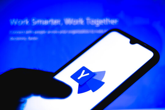 January 12, 2021, Brazil. In this photo illustration the Yammer logo seen displayed on a smartphone.