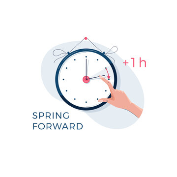 Daylight saving time concept. Human hand is turning the clock hands forward by an hour. Changing the time on the watch to summertime for web, banner, emailing design. Modern flat vector illustration