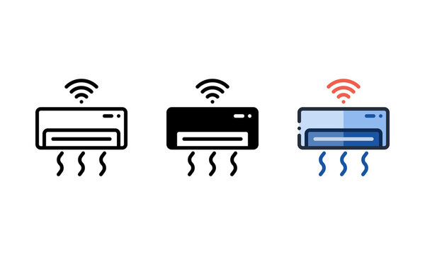 Air conditioner icon. With outline, glyph, and filled outline styles