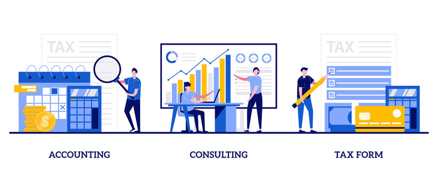 Accounting, consulting, tax form concept with tiny people. Financial information abstract vector illustration set. Tax filing, audit service, online application software, business strategy metaphor