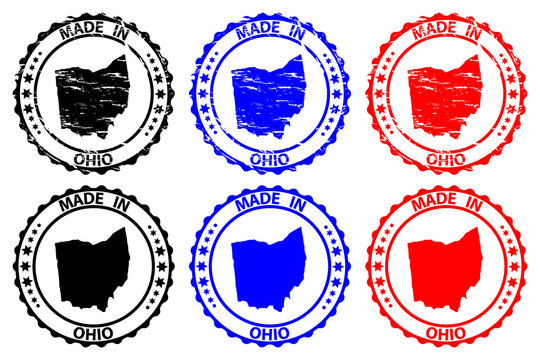 Made in Ohio - rubber stamp - vector, Ohio (United States of America) map pattern - black, blue and red