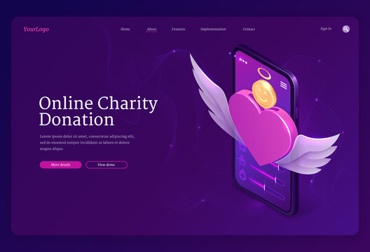 Online charity donation banner. Mobile app for financial donate, fundraiser, volunteer help. Vector landing page of digital service for charity with isometric heart and money on smartphone screen