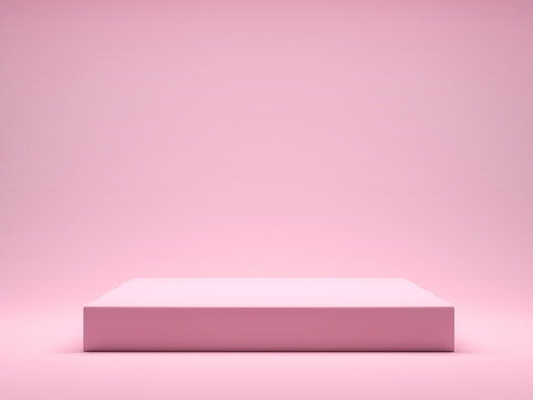 Pink platform for product display interior podium place. 3d rendering