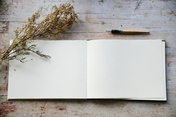 Obraz Blank journal open for creative writing or journaling art activities - fototapety do salonu