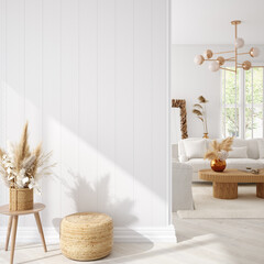 Coastal boho living room interior background, wall mockup, 3d render