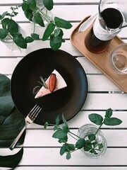 Obraz Directly Above Shot Of Cake And Drink On Table - fototapety do salonu