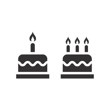 Birthday cake with candles vector icon. Simple black glyph symbol.