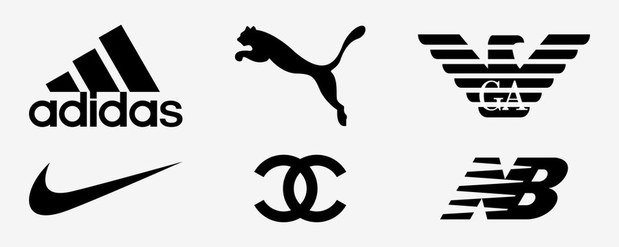 Adidas, Nike, Armani, Chanel, Puma, New Balance. Fashion company logo. Vector illustration. Adidas, Nike and puma logo. Editorial set. Rivne, Ukraine - January 12, 2021.