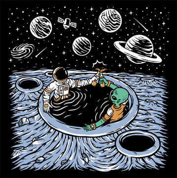 Astronaut and alien chilling illustration