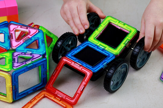 magnetic construction set for children from many elements