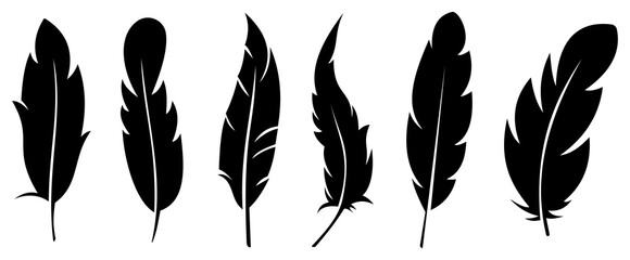 Silhouette feather icon set. logo of bird feather on white background. Vector illustration Fotomurales