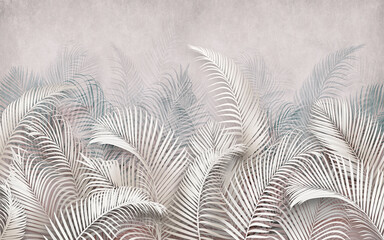 Fototapeta 3d picture of palm leaves on the background obraz