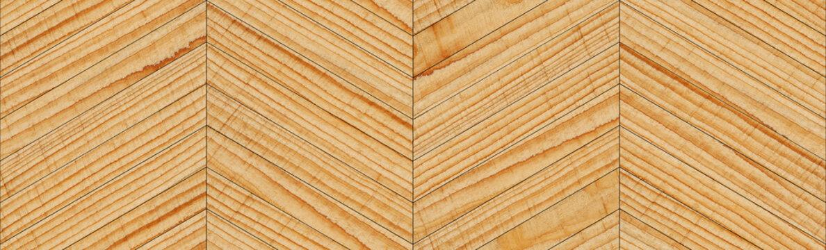 Seamless wooden background. Rough untreated parquet floor with chevron pattern. Hardwood planks texture.