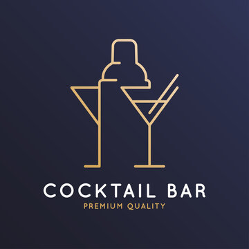 Cocktail bar logo with cocktail shaker and glass