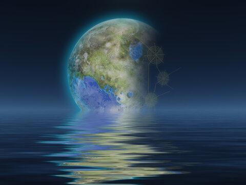 Terraformed Luna rises over water
