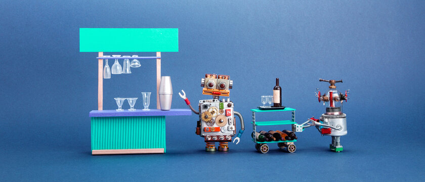 Restaurant service concept. Bar counter service area. Robot barman, waiter with a trolley and wine. Blue background.
