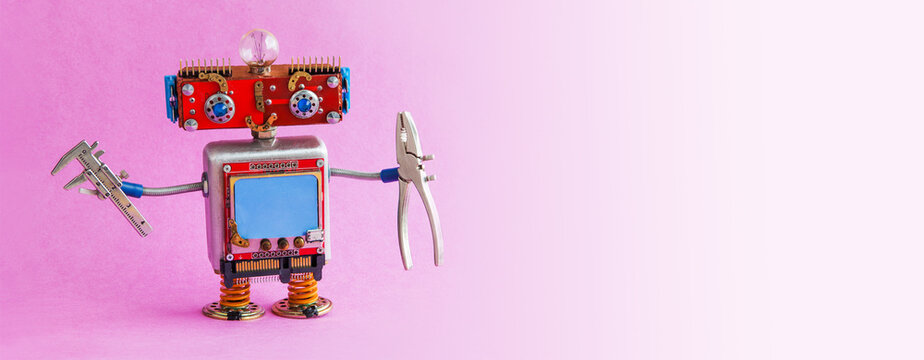 Robotics service maintenance business, Toy robot repairman with pliers and calipers. Pink gradient background copy space
