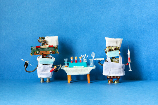 Medic robots holds a test tubes with a patient s blood sample, stick for scraping and Polymerase chain reaction research. Laboratory virus diagnostic. blue background.