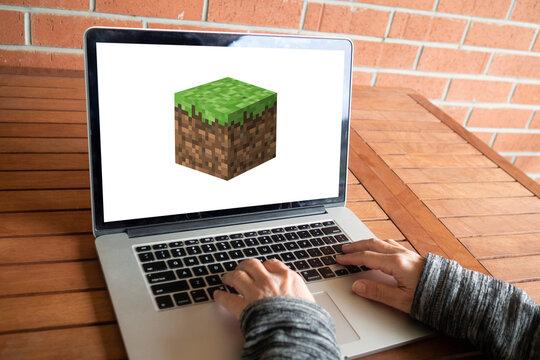 Minecraft logo editorial illustrative