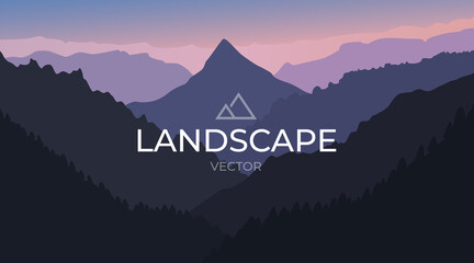 Vector landscape with silhouettes of mountains. Nature background.
