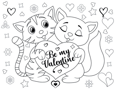 Valentines Day Coloring Book - Coloring book page for Valentine's Day- Coloring page- Black and White Cartoon Illustration.