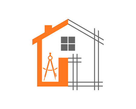 Home line with architect tool logo