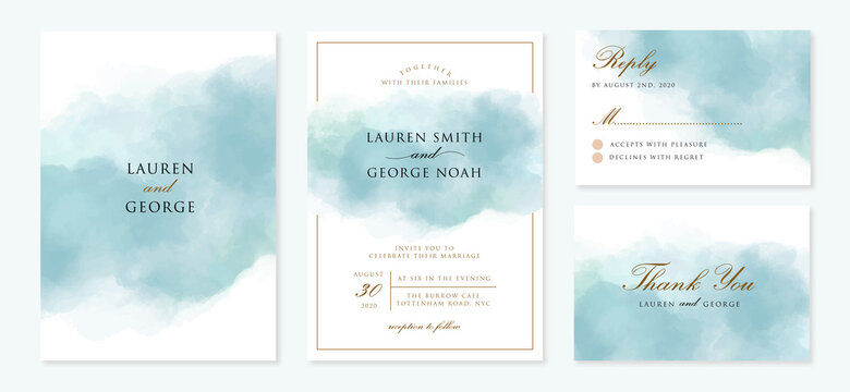 wedding invitation set with abstract blue background
