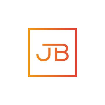 Creative initial letter JB square logo design concept vector