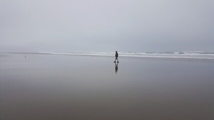 Distant View Of Man Walking At Beach Against Sky